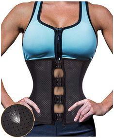 cba56333b3bbc Gotoly Women Latex Waist Trainer Zip Corset Steel Boned Sport Cincher  Weight Loss Body Shaper at Amazon Women s Clothing store