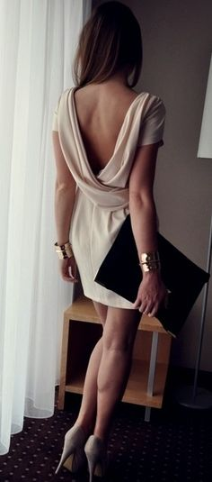 low back dress + clutch.