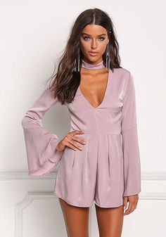 Take the plunge! A gorgeous romper in a lustrous woven bodice solid all throughout. Features a choker neck strap with a plunge V neckline and long bell sleeves. Looks amazi Neck Choker, Love Culture, Romper Outfit, Junior Outfits, Girl Stuff, Strap Heels, Clothes For Sale, Bell Sleeves, Lavender