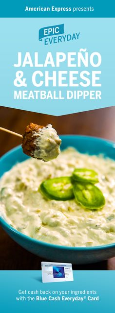 Can you handle a side this spicy? We partnered with Buzzfeed for an epic jalapeño dip idea. With ingredients like green chilis, monterey jack cheese, and cream cheese, there's no resisting these meatballs. Shop for the appetizer and get 3% cash back at US supermarkets on up to $6000 in purchases with the Blue Cash Everyday Card from American Express. Terms apply. Learn more at americanexpress.com/epiceveryday. Click the pin to get this easy recipe and more.