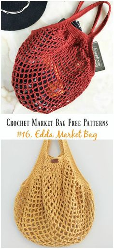 Edda Market Bag Crochet Free Pattern - Market Grocery Patterns Crochet Market Bag Free Patterns: a collection of crochet market tote bag, grocery bag, shopping bag for farmers market and grocery store, grocery storage Bag Crochet, Crochet Market Bag, Crochet Shell Stitch, Crochet Handbags, Crochet Purses, Crochet Pillow, Free Crochet, Knit Bag, Learn Crochet