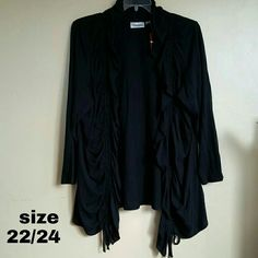 """Avenue Cardigan NWT Black (lightened to show the detail).  Ruffles down the center. Ties at the bottom shown in 3rd photo. 60% cotton.  40% polyester.  30"""" in length. Front pieces are a little longer. Avenue Sweaters"""
