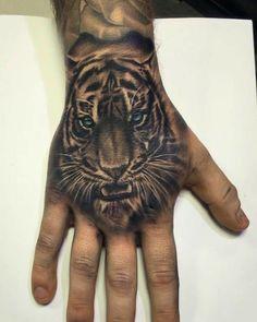 Mens Tiger Tattoo, Tiger Hand Tattoo, Tiger Tattoo Sleeve, V Tattoo, Tiger Tattoo Design, Hand Tats, Hand Tattoos For Guys, Head Tattoos, Wolf Tattoos
