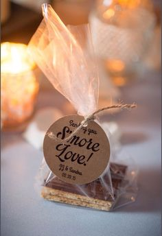 Smore Wedding Favor Tags  Want to send home love with your wedding favors? Send them SMORE LOVE! The verbiage on the tag reads: Sending you Smore Love. We will include your names and wedding date on them, so please leave the information in the seller notes! Please also let me know if you want Design 1, 2 or 3 (A picture of each is shown above in Image#3).  If you need them without names or dates, we can exclude them as well! Great for a shower or party favor that way!  **This includes the…
