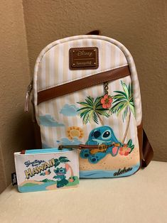 Disney Loungefly Hawall Stitch Backpack With Cardholder Brand New With Tag Smoke free home Cute Mini Backpacks, Stylish Backpacks, Stitch Backpack, Backpack Purse, Cute Purses, Purses And Bags, Lelo And Stitch, Cute Disney Outfits, Disney Wishes