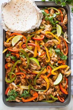 Whip up a family-friendly take on a Mexican favorite with a quick and easy recipe for sheet pan chicken fajitas. Make a sheet pan full of fajitas for a crowd with this easy and flavorful recipe. One Pan Meals, Easy Meals, Kid Meals, Cooking Recipes, Healthy Recipes, Easy Recipes, Cooking Tips, Easy Cooking, Simple Easy Dinner Recipes