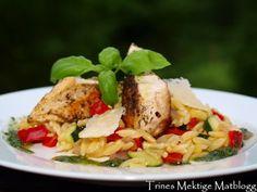 » Kylling med risoni og basilikumolje Risoni Salad, Rice, Meat, Chicken, Food, Essen, Meals, Yemek, Laughter