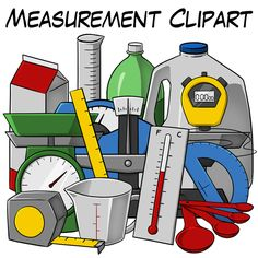 Measurement Clipart collection from Digital Teaching Resources - includes color variations and black & white line art for a total of 52 high quality PNG files. For personal and commercial use $