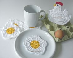 crochet fried egg coasters sweet easter gifts for young couples Mari Martin