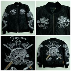 Vintage Japanese Japan Black Silver Dragon Ryu Samurai Musha Warrior Karakuri Yokosuka Jumper Tattoo Art Embroidery Embroidered Bomber Sukajan Souvenir Jacket Tour Jacket ( SIZE : L ) - Japan Lover Me Store