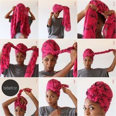 A stylish look for New Year& Eve? Should you have a turban .- Ein stilvoller Look für Silvester? – Haus Dekoration Mehr First we wanted to show you how an African turban can tie - Tie A Turban, Turban Style, Turban Headbands, Hair Wrap Scarf, Scarf Head Wraps, Head Scarf Tying, Curly Hair Styles, Natural Hair Styles, Head Scarf Styles