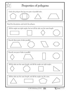 Properties of polygons, parallel sides and right angles - Worksheets & Activities   GreatSchools