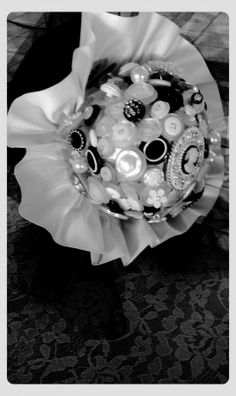 Handmade Black And White Button Bouquet, 43% off | Recycled Bride