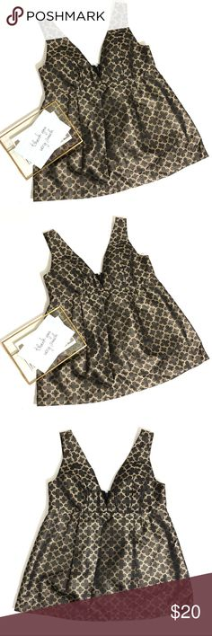 """Steve and Barry's Gold Black Print Blouse Sz Small In excellent used condition  Zippered back   Size Small  Flat lay ~15"""" Waist  Shoulder to hem 23.75"""" Steve & Barry's Tops Blouses"""