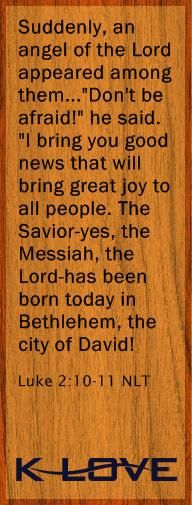 """Today's Bible Verse  Suddenly, an angel of the Lord appeared among them...""""Don't be afraid!"""" he said. """"I bring you good news that will bring great joy to all people. The Savior-yes, the Messiah, the Lord-has been born today in Bethlehem, the city of David! Luke 2:10-11 NLT Provided by: New Living Translation"""