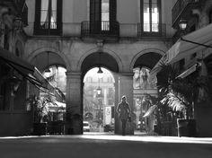 Placa Reial Barcelona  zwart-wit fotografie