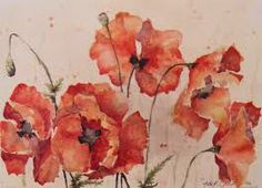 This WC poppies painting depicts the free movement of the flowers.