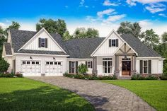 Contemporary Farmhouse Plan with Bonus Room Over The Garage - 51774HZ | Architectural Designs - House Plans