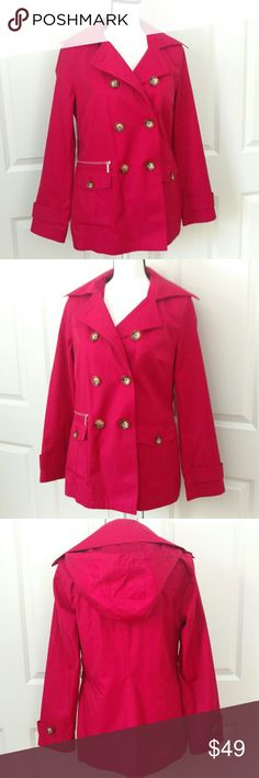 Michael Kors Pink Rain Jacket Size Small / Petite Cute Michael Kors pink rain jacket with hood size small petite. Jacket did come with a  belt but I misplaced it and can't find it but I thought it looked best without the belt. Jacket is adorable on and is a nice light weight to it! Wore a handful of times and in good condition! Message me with any questions! Michael Kors Jackets & Coats