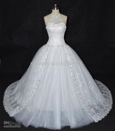 Wholesale Crystals Halter Ball Gown Sequins Beads Lace Wedding Dresses Free Gloves Free Veil 2013 buy 1 get 2, $193.18/Piece | DHgate