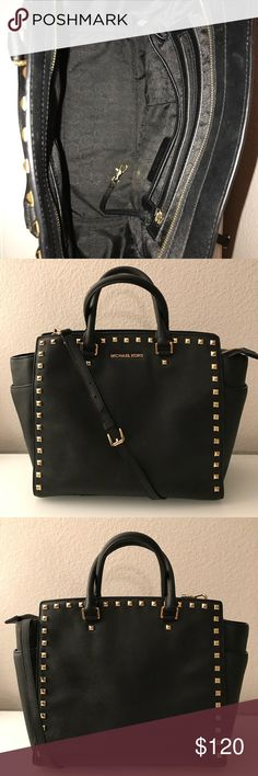 Michael Kors Black large studded Selma Saffiano leather  Scratch water resistant  Used but like new- no discoloration or damaged leather  Comes with originalduster bag & crossbody strap (attached) Michael Kors Bags Crossbody Bags