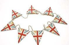 Chic & Shabby Wooden Union Jack Effect Bunting Garland ♥ Country ♥