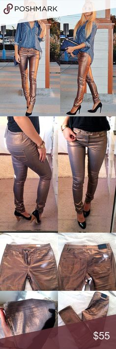 Copper Shimmery Jeans ✨ Brand-new with tags. Inseam measures approximately 33 inches, total length from top to bottom approximately 41.5 inches. Says size European 38. I'm a size 4 and they fit me perfectly. Picture number one shows a similar Jeans that I modeled for my blog. They stretch very well. Low-cut. *Heels as shown in picture number 2 are also available  Object Collectors Item Jeans