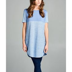 Paolino Denim Rib Contrast Side Button Tunic featuring polyvore, women's fashion, clothing, tops, tunics, denim tunic, stretch top, rib top, long tops and button top