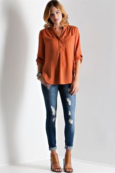 Burnt Orange Blouse | Burnt Orange Top from Longhorn Fashions