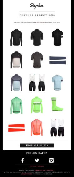 Rapha Racing Product Recommendations Sale Email #EmailMarketing #Sport #Recommendations
