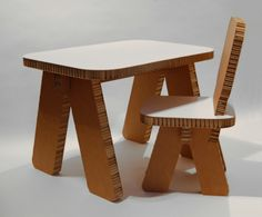 Child Furniture made out of honeycomb cardboard (95 % recycled material).