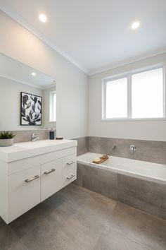 in our Pokeno Show Home Bathroom Inspiration, Corner Bathtub, Neutral Colors, Minimalist Bathroom, How To Plan, House, Urban, Style, Swag