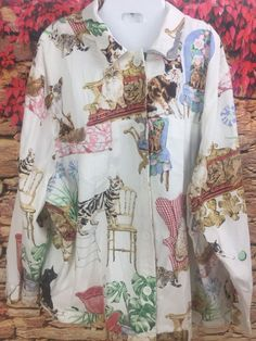 FENINI Cat Lady Antique Chairs Womens Plus Size Shirt Jacket Size 3X Made In USA #FENINIUSA #ButtonDownShirt #Casual