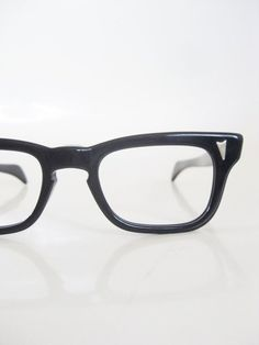 51d0d820e91 Vintage 1950s Horn Rim Mens Eyeglasses Midnight Black Classic Mad Men Mid  Century Guys Homme Modern