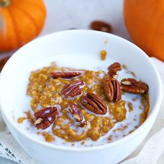 Have pumpkin pie for breakfast with this healthy slow cooker pumpkin pie oatmeal recipe featuring steel-cut oats cooked overnight with pumpkin puree and spices. Have pumpkin pie for breakfast with this healthy recipe featuring steel-c Healthy Slow Cooker, Slow Cooker Recipes, Gourmet Recipes, Cooking Recipes, Cooking Games, Cooking Videos, Healthy Cooking, Healthy Fall Recipes, Cooking Icon