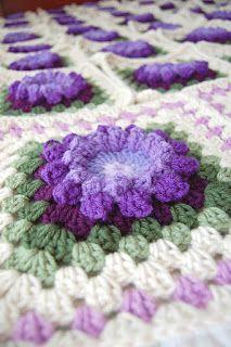 tillie tulip - a handmade mishmosh: Purple Palooza 90x100 Flower Afghan - In Progress