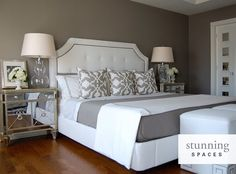 Pretty neutral bedroom, nightstands