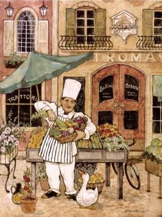 Chef At Market: art by Betty Whiteaker Chef Kitchen Decor, Kitchen Art, Paris Kitchen, Chef Pictures, Artist Bio, Le Chef, Decoupage Paper, Cool Posters, Stretched Canvas Prints