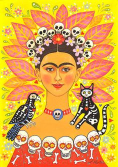 """Signed A4 Giclee limited edition print """"Frida and Friends"""", for those who love Frida Kahlo and Day Of The Dead! By Laura Robertson"""
