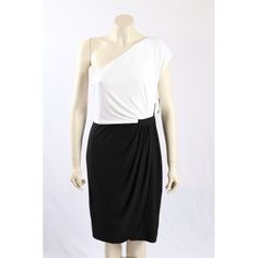 New Black and White Cocktail, Evening Dress from Donna Morgan. This a is an elegant matte Jersey, one sholder design and in colorblock. in size 16 Black And White Cocktail Dresses, Morgan Black, White Cocktails, Premium Brands, Size 16 Dresses, Color Blocking, Evening Dresses, Elegant, Skirts