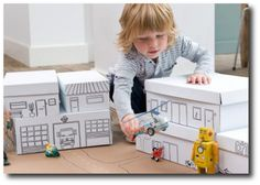 Shoe Box Town. Easy and inexpensive way to have the kids create their own town and then have hours of fun playing with it!
