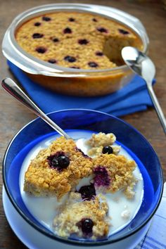 Blueberry Banana Baked Oatmeal - eggs, sugar (would use stevia), vanilla extract, salt, baking powder, milk, bananas, oats, blueberries