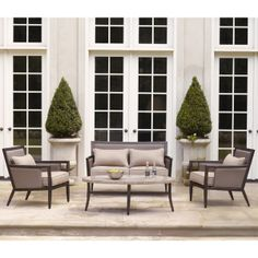 Greystone Collection Loveseat Lounge Chairs And Coffee Table Brown Jordan Patio Furniture