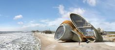 """For his series """"Dauphin Island,"""" artist Dionisio González designed dreamlike, futuristic forts made from iron and concrete, fusing the role of artist with that of architect, engineer and urban planner. The peculiar edifices -- the hybrid of a beach house, a bunker and a space ship -- were designed with the residents of Dauphin Island in mind. Located off the coast of Alabama in the Gulf of Mexico, the tiny landmass is known for experiencing perpetual and catastrophic hurricanes. When a ..."""