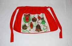 Christmas apron with ornaments foreign by HappyCloudImports, $12.00