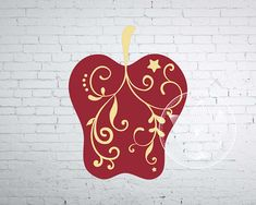 Digital apple with swirls clip art Apple eps png dxf svg
