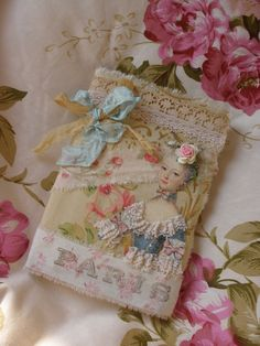 Marie Antoinette Altered Art Mini Journal with Ribbons and Roses. $13.00, via Etsy.
