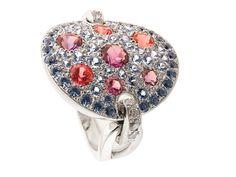 Mathon Paris Reflet Ring - blue sapphires, amethysts, iolites, rhodolites, tourmaline and white gold