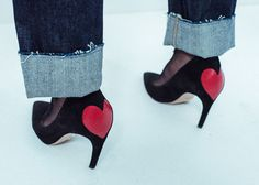 """Dioramour pumps - For her Ready-to-Wear Fall 2017/18 show Maria Grazia Chiuri designed a pair of black pumps adorned with a red heart at the back. Their heel is inspired by the """"talon choc"""" that first appeared in 1959"""