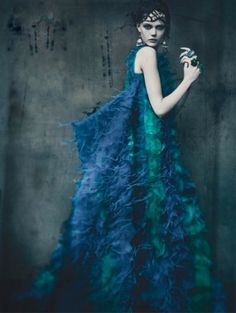Frida Gustavsson wears Dior Haute Couture, photographed by Paolo Roversi for Vogue Italia, September 2011.